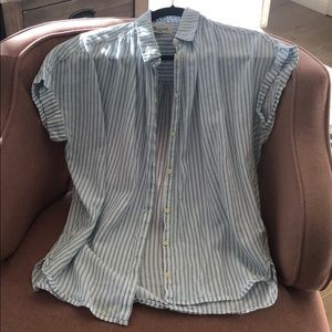 Madewell short sleeve button up with blue stripes